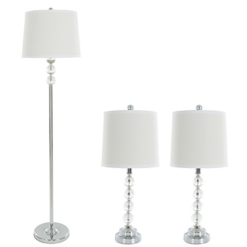 Table Lamps and Floor Lamp Set of 3, Faceted Crystal Balls (3 LED Bulbs included) by Lavish Home
