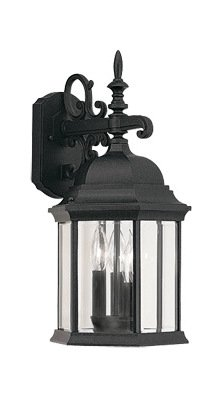 Black 3 Light 9.5in. Cast Aluminum Wall Lantern from The Devonshire Collection