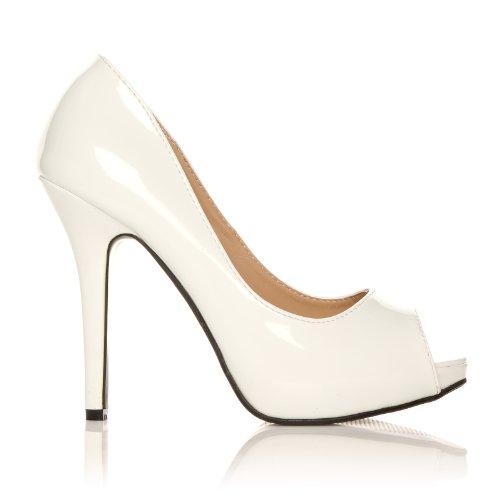 TIA - Chaussures à talons aiguilles - Plateforme - Bout ouvert - Blanc - Vernis