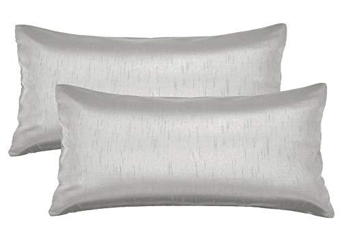 Aiking Home 12x24 Inches Faux Silk Rectangular Throw Pillow Cover, Zipper Closure, Silver (Set of 2) (Silver Lumbar Pillow)