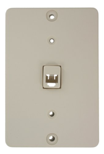 - Leviton 40253-T Telephone Wall Phone Jack, 6P4C, Light Almond