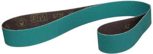 3M Cloth Belt 577F, Alumina Zirconia, Wet/Dry, 2'' Width x 72'' Length, 60 Grit, Green (Pack of 50) by 3M