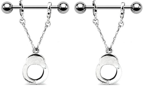 Nipple Ring Bars Handcuffs Body Jewelry Pair 14 gauge 3/4'' sold as a pair