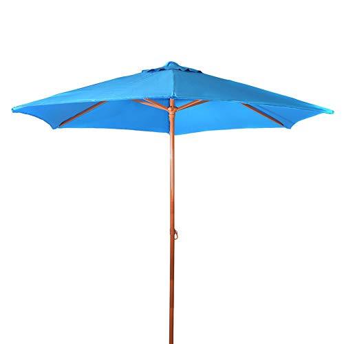 8Ft Sunbrella Market Beach Umbrella Patio Outdoor Table Umbrella with Tilt Bonus Weatherproof Cover with Polyester Canopy Portable for UV Protection UPF 50+ (Sunbrella Light Blue)