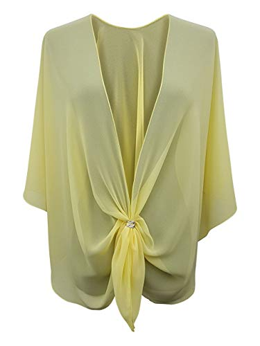Cruise Jacket - eXcaped Women's Evening Shawl Wrap Sheer Chiffon Open Front Cape and Silver Scarf Ring (Lemon)