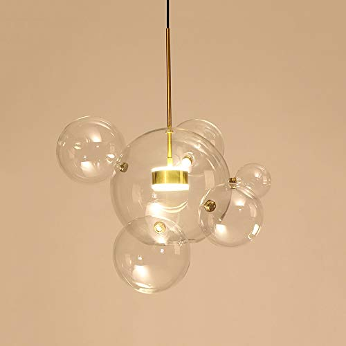EDISLIVE Modern Artistic Chandeliers Bubble 1-Light 6-Clear Globe Glass Sputnik Pendant Light for Dining Room White