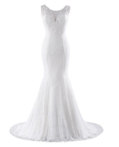 Changuan Women's Lace Wedding Dress Mermaid Bridal Gown Train Ivory1-4 ()