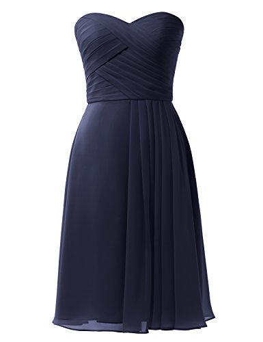 Remedios A-Line Chiffon Bridesmaid Dress Short Sweetheart Party Prom Gown, Navy Blue, US6
