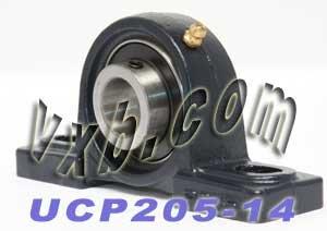 "UCP205-14 Pillow Block Mounted Bearing, 2 Bolt, 7/8"" Inside Diameter, Set screw Lock, Cast Iron, Inch"