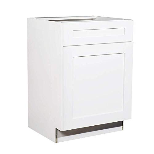 (Shaker White Cabinet Solid Wood Construction Vanity Bathroom Sink Base Cabinet, 24