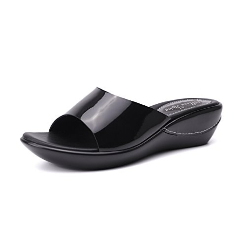 Mona Flying Women's Flat Platform Slides Shoes for Women Leather Wedges Slippers Sandals Leather Patent Leather Slippers