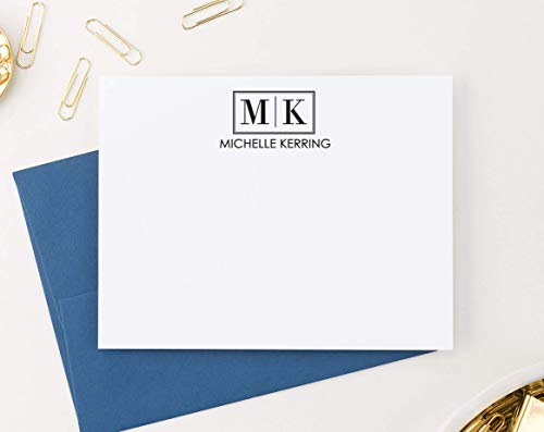 Letter Initial Monogram Stationary Set FLAT NOTE CARDS, Personalized Monogram Stationery Set, Professional Monogram Stationery, Your Choice of Colors and Quantity