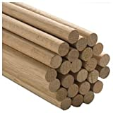 100 Pcs, 3/4'' X 36'' Oak Wood Dowels Mix Of Red And White Oak Dowel Color May Vary