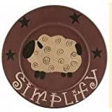 Simplify Stars & Sheep with Swirls Wooden Plate - Primitive Country Rustic 8-1/2 Wood Plate by Hearthside Collection