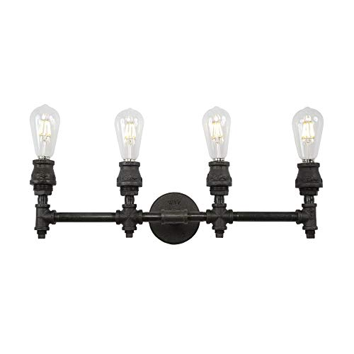 West Ninth Vintage Devon Four Socket Bathroom Vanity Light - Authentic Iron Pipe Construction - Industrial Look for Your Home ()