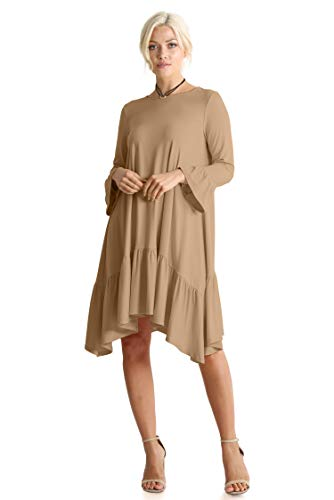Long Sleeve High Low Dresses for Women Regular and Plus Size - Made in USA