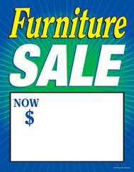"C80FNT Furniture Sale Now - Large Price Cards - Sale Tags - 8 1/2"" x 11"" (100 Pack) Business Store Signs"