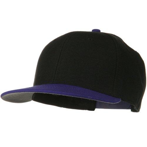 Otto Caps Wool Blend Flat Visor Pro Style Snapback Cap - Purple Black (Ultrafit Wool Blend Cap)