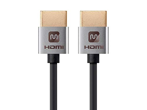- Monoprice High Speed HDMI Cable - 5 Feet - Silver| 4K@24Hz, 10.2Gbps, 36AWG, YUV, 4:2:0 - Ultra Slim Series