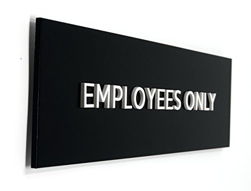 Kubik Letters Employees Only Sign, Modern Door Sign for Staff Only Area with 3M Double Sided Tape