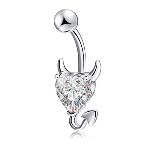 1 Pcs Navel Belly Button Ring Glitter Love Heart Decor Piercing Jewelry Navel Nail White (1 Cent Belly Button Rings)