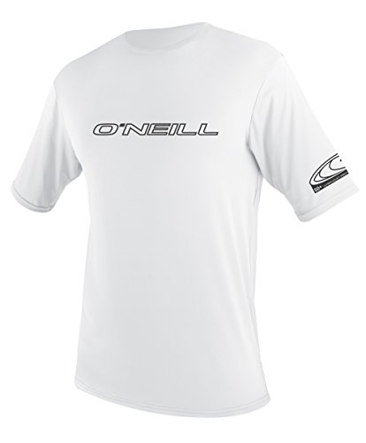 O'Neill UV 50+ Sun Protection Mens Basic Skins Short Sleeve Tee Sun Shirt Rash Guard, White, Large ()