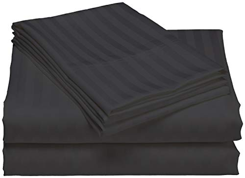 600 Thread Count Striped Sheets for Bed -100% Long Staple Egyptian Cotton, Woven 600 TC Stripe Queen Dark Grey 4 Piece Bedding Set Hotel Quality, OekoTex Certified