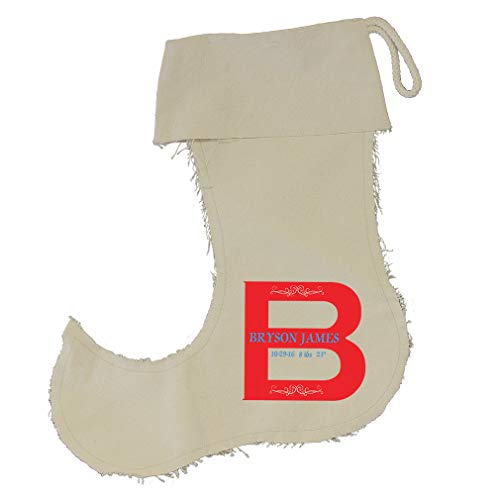 Personalized Custom Text Alphabet Big Red Letter Cotton Canvas Stocking Jester Jester Stocking - Small