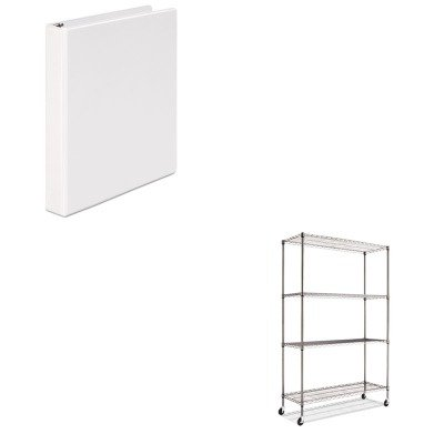 KITALESW604818BAUNV20962 - Value Kit - Best Complete Wire Shelving Unit w/Caster (ALESW604818BA) and Universal Round Ring Economy Vinyl View Binder (UNV20962) by Best