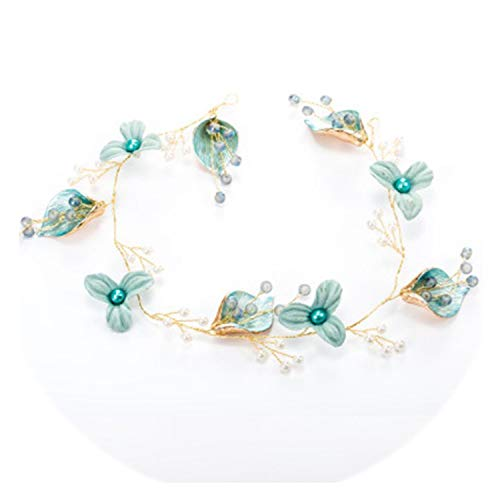 Handmade Blue Wedding Flower Hair Vine Pearl Headbands Tiaras Noble Bridal Headdress Hair Ornament Hair Jewelry Cute Hair Band