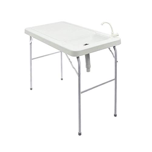 Modern-Depo Portable Folding Fish Table w/Sink,HDPE Powder Coated for Camping,Picnic,Garden