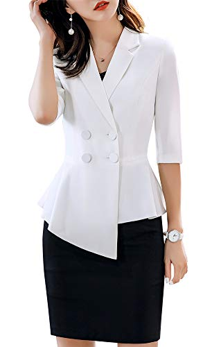- Women's 2 Pieces Office Blazer Suit Slim Fit Work Suits for Women Blazer Jacket,Pant/Skirt Suits (WhiteQZ-1907, XS)