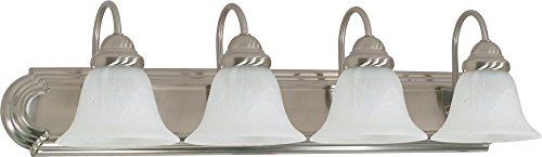 - Filament Design 7778158322 4-Light Brushed Nickel Vanity Light with Alabaster Glass Bell Shade,