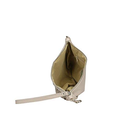 Femme Borse main Chicca Sac Gris Clutch Italie Cm à en en Petit fabriqué véritable 29x18x2 cuir dqqYEwF