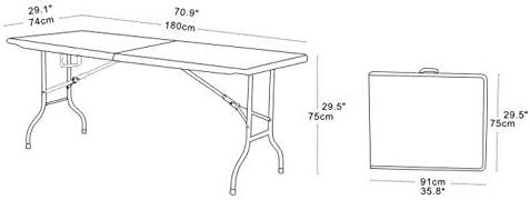 chiner - Mesa Rectangular Plegable al Centro 180 cm.: Amazon.es ...