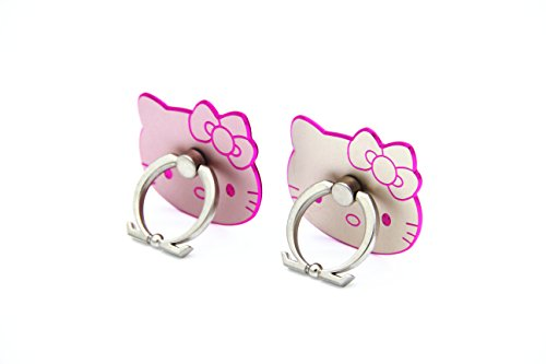 CellDesigns Hello Kitty Cell Phone Ring Grip Stand Holder Car Mounts (Rose Gold, Gold/ Pink Rim)