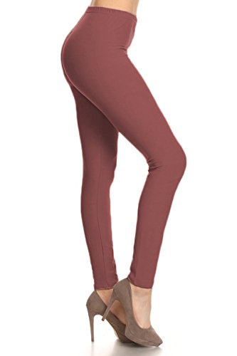 Leggings Depot Ultra Soft Basic Solid REGULAR and PLUS 29 COLORS Best Seller Leggings Pants Carry 1000+ Print Designs (One Size (Size 0-12), Wild Ginger) by Leggings Depot
