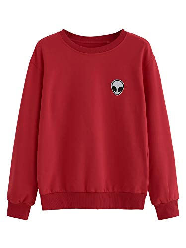 SweatyRocks Womens Casual Long Sleeve Pullover Sweatshirt Alien Patch Shirt Tops (X-Large, Red)