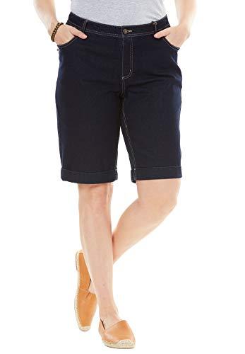 Women's Woman Within Plus Size Stretch Jean Bermuda Short - Indigo, 28 W