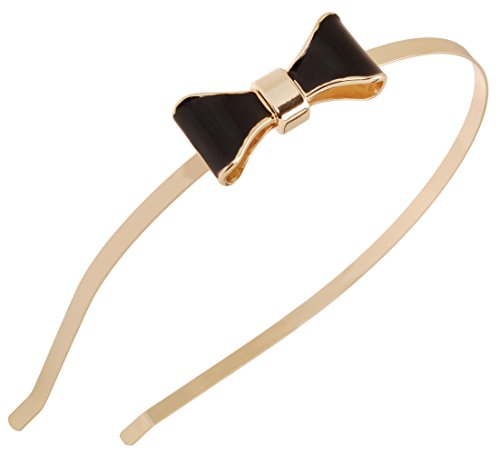 L. Erickson Atelier Enamel Prim Bow Headband - Black/Gold