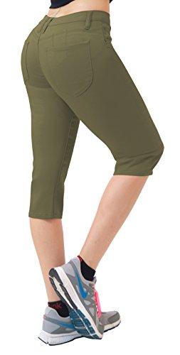 (Women's Butt Lift Super Comfy Stretch Denim Capri Jeans Q43308 Army Green 1)