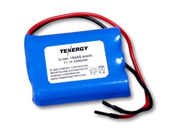 Tenergy Li-Ion 18650 11.1V 2200mAh Rechargeable Battery Pack with PCB Protection