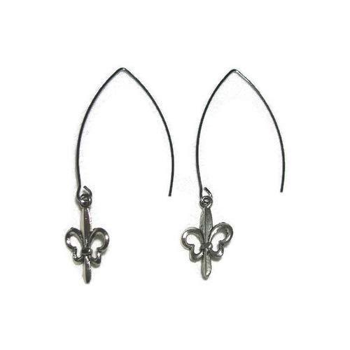 FLEUR DE LIS EARRINGS Angle Hook Threader Earrings Silver Plt ()