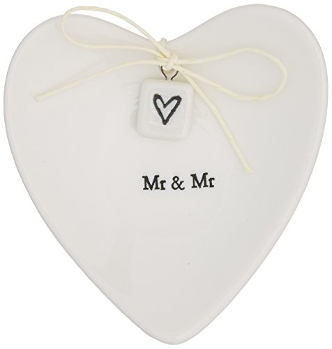 Two's Company E2072 Mr. & Mr. Ring Dish in Gift Box (Porcelain Wedding Rings)