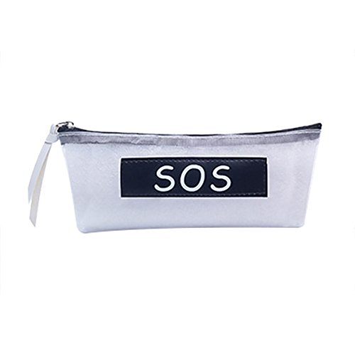 Sos Medium Storage Box - Kanggest SOS Transparent Mesh Polyester Pencil Case Student Pen Case Coin Purse Pouch Cosmetic Makeup Bag School Pen Zipper Pouch Bag to Hold Pencils, Marker Supplies for Teen Girls, Boys, Kids