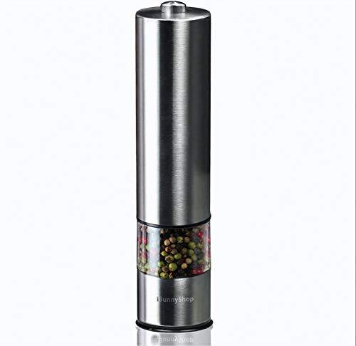 iBunny Premium Stainless Steel Electric Pepper Grinder or Salt Grinder Mill, Battery Operated with Light and Adjustable Ceramic Grinder