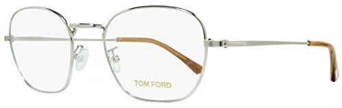 Tom Ford Square Thin Frame Eyeglasses FT5335 (018 Shiny Rhodium/Light Brown Horn Temple Tips, 51 - Tom Ford Marcolin
