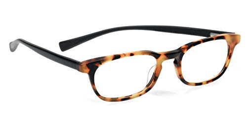 eyebobs On Board Unisex Premium All Day Readers, Tokyo Tortoise Front with Black Temples in a Rubberized Finish, 2.00 Magnification