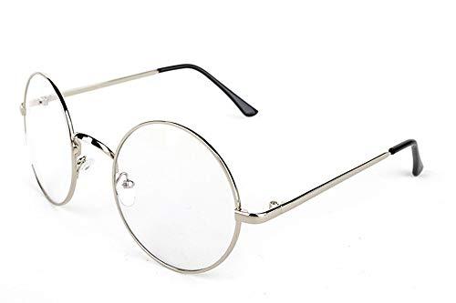 Lovef Large Oversized Metal Frame Clear Lens Round Circle Vintage Eye Glasses 5.42inch ()