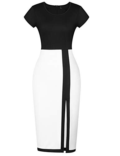 16112374e2a Mavis Laven Women Short Sleeve Color Block One-Piece Split Bodycon Pencil  Dress